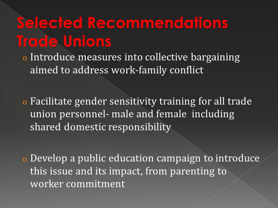 Selected Recommendations Trade Unions