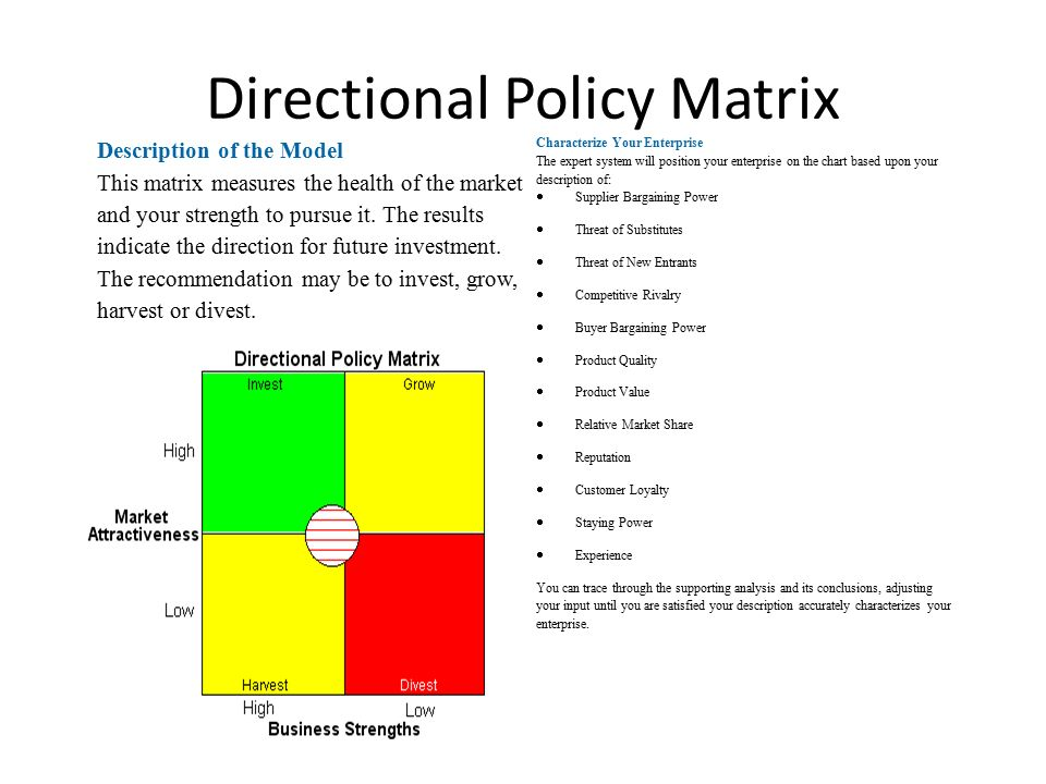 directional policy matrix in sony The directional policy matrix (dpm) is a framework which can be used to classify and categorise an organisation's business activities in terms of its strengths, capabilities or market position, and.