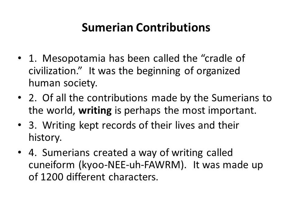 sumerians contributions to world civilization