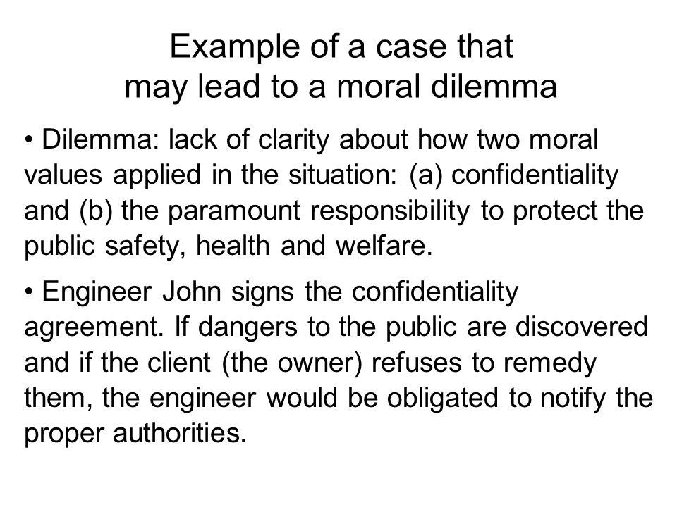 moral reasoning and code of ethics ppt  example of a case that lead to a moral dilemma