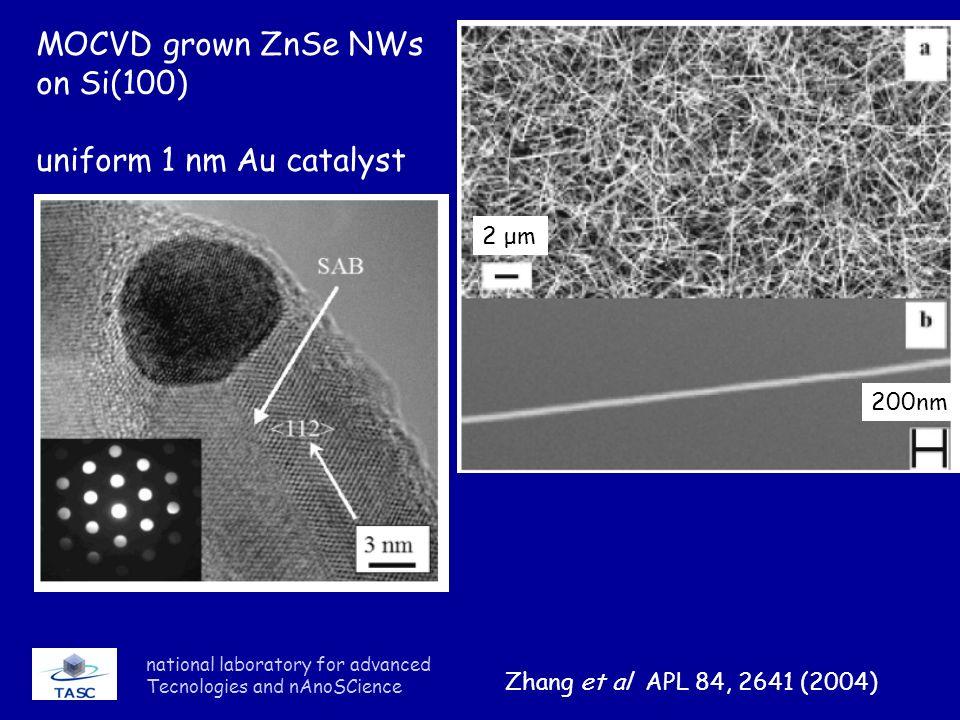MOCVD grown ZnSe NWs on Si(100) uniform 1 nm Au catalyst 2 μm 200nm