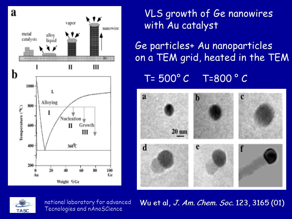 VLS growth of Ge nanowires with Au catalyst
