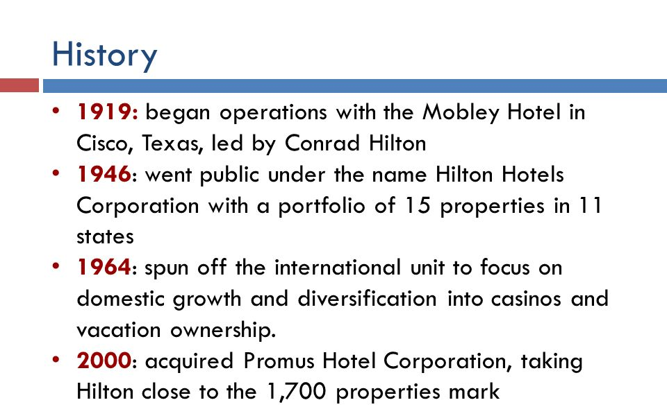 case study on hilton hotels corporation Hilton hotels csr performance hilton worldwide holdings inc report contains a criticism of hilton hotels csr programs and initiatives the report also illustrates the application of the major analytical strategic frameworks in business studies such as swot, pestel, porter's five forces.