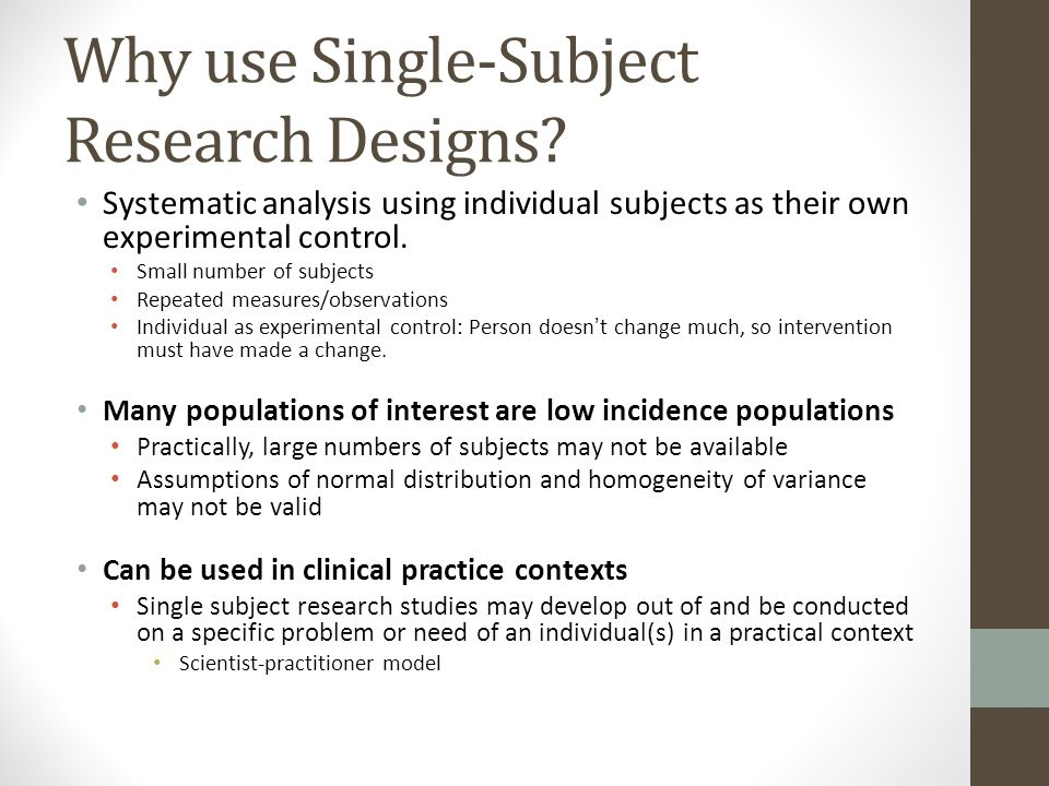 an analysis of educational research on single subject critique Article analysis assignment  research in sociology, political science, psychology, education, or social work are fine  sex of subject was a control variable.