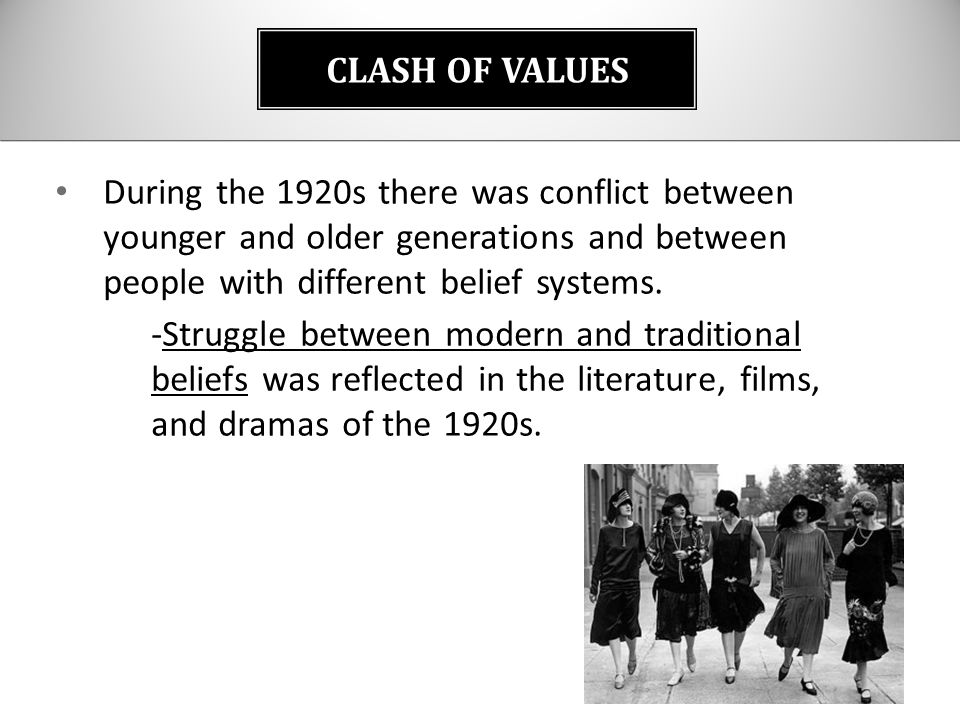 1920s clash of the traditionalists and Dbq 17: a national clash of cultures in the 1920's with the arrival of the 1920's,  1920s: clash of the traditionalists and modernists essay.