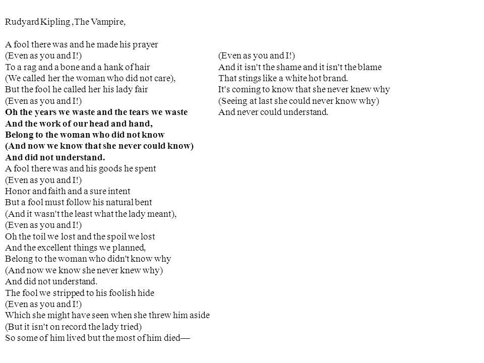 Rudyard Kipling ,The Vampire,