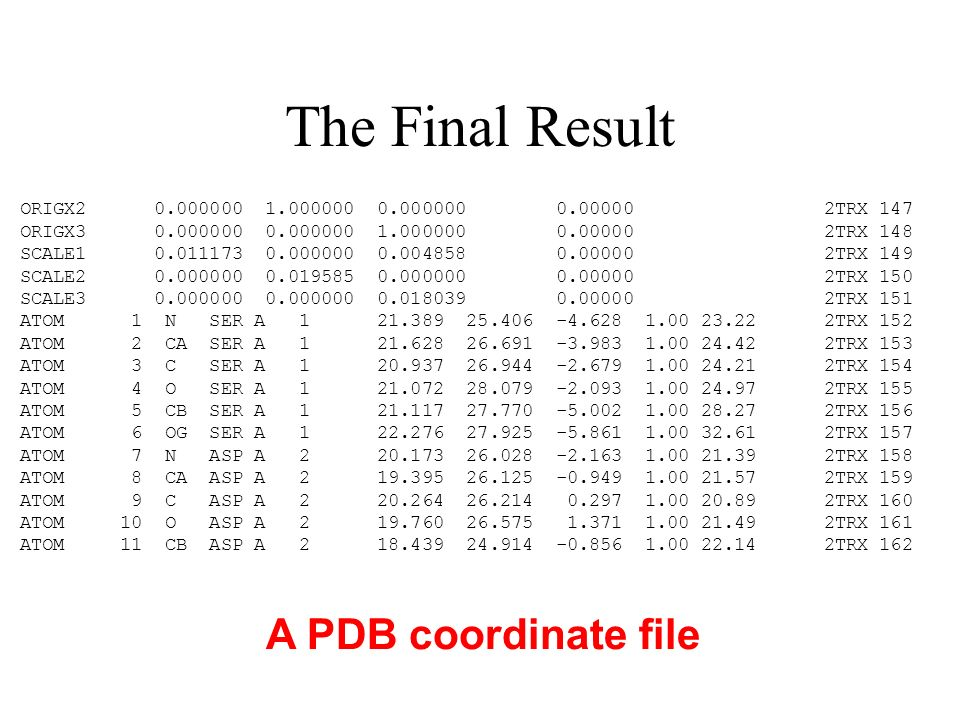 The Final Result A PDB coordinate file