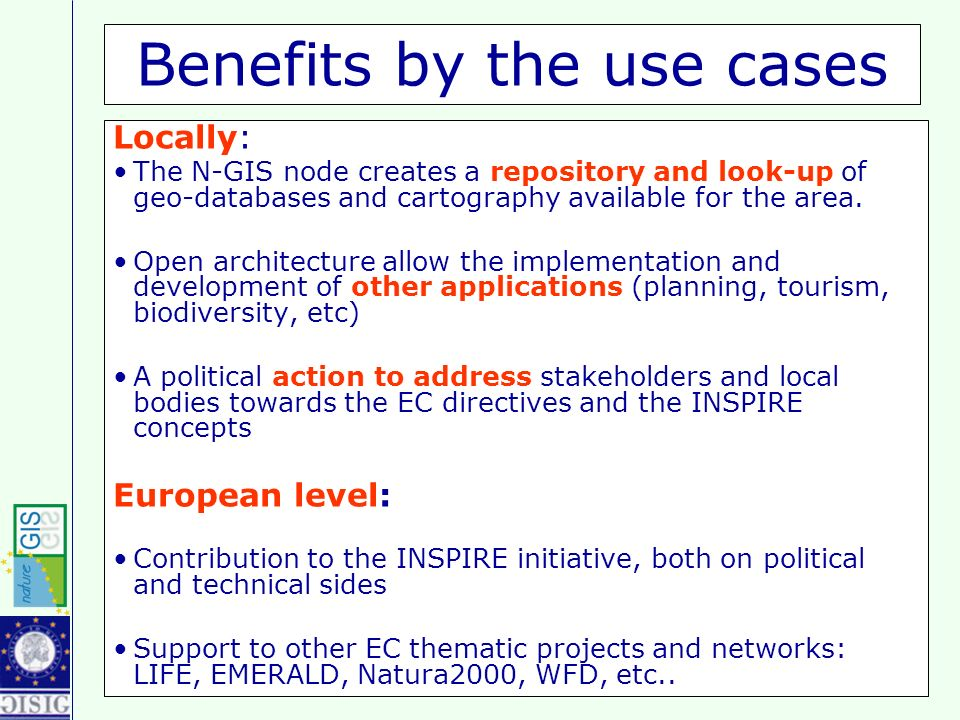 Benefits by the use cases