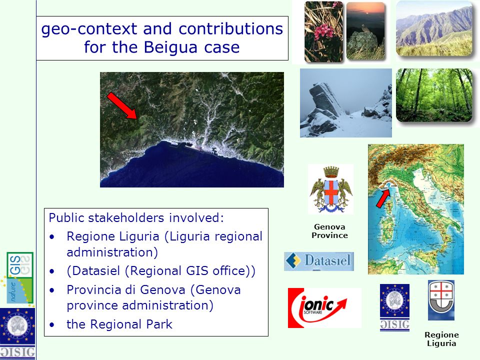 geo-context and contributions for the Beigua case