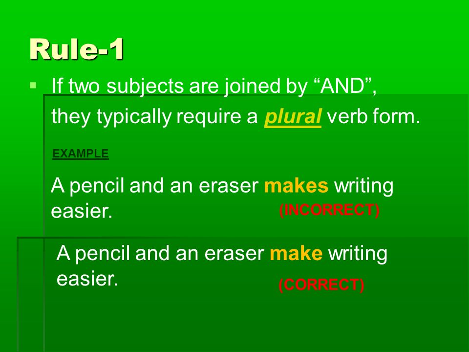 Rules on subject verb agreement ppt video online download rule 1 if two subjects are joined by and platinumwayz