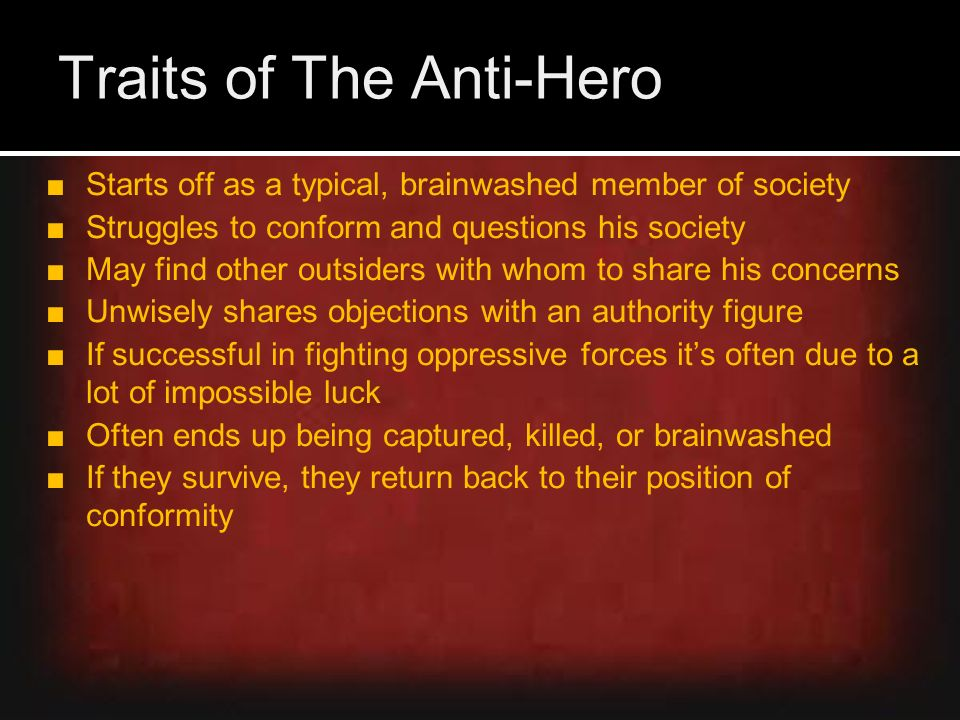 anti heroism essay View essay - anti-hero essay from eng 1009 at middle tennessee state university burgdorf 1 abbey burgdorf dr michael rex english 216 part ii: essay what it means to be an anti-hero an anti-hero.