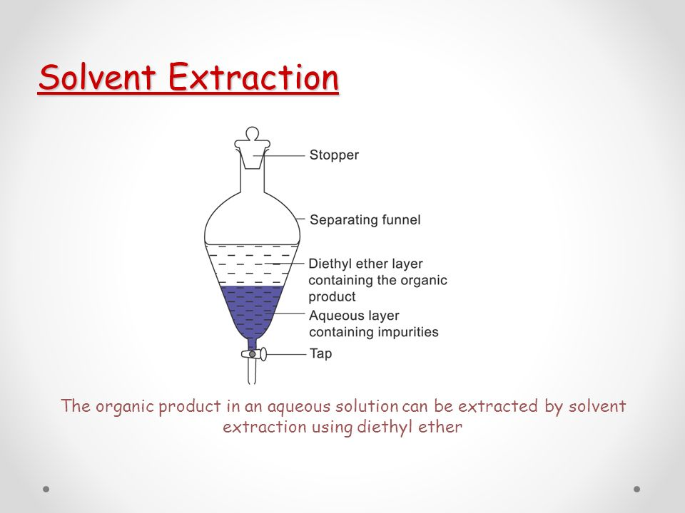 extraction of organic solvent Solvent extraction is a common form of chemical extraction using organic solvent as the extractant it is commonly used in combination with other technologies,.