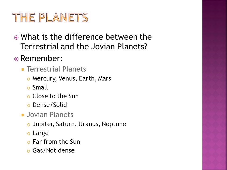 list the differences between terrestrial and jovian planets - photo #8