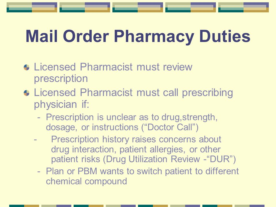 mail order pharmacy duties - Pharmacist Duties