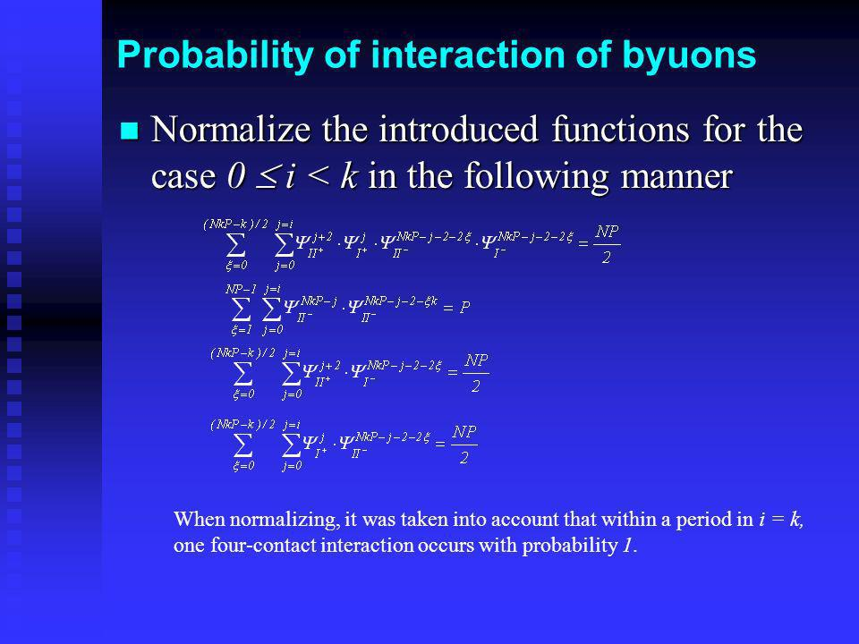 Probability of interaction of byuons