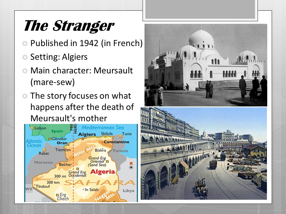 an analysis of the character of meursault in camuss novel the stranger The idea of existentialism is used throughout the literary work the stranger by albert  the end of the novel, when meursault comes to a full.