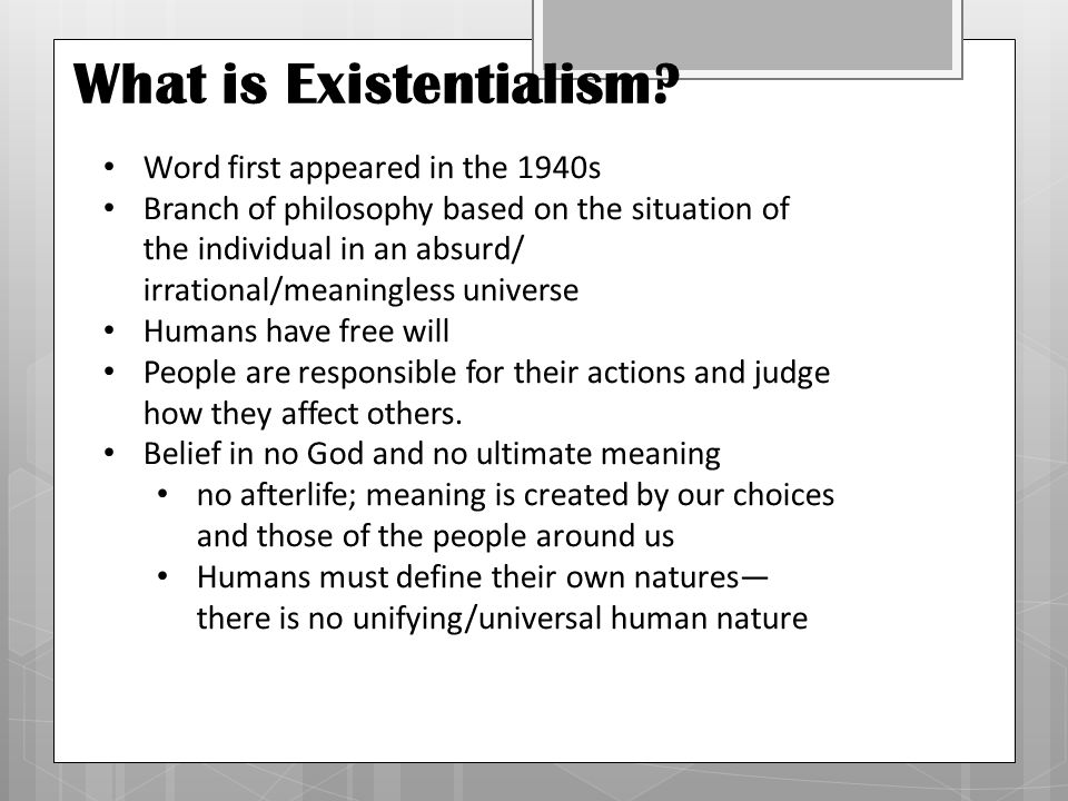Marvelous What Is Existentialism