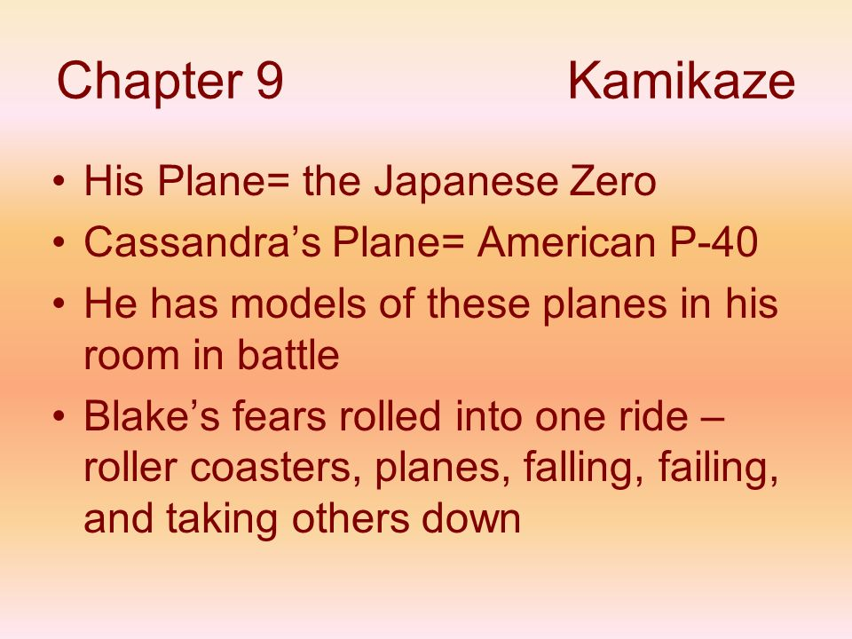 Chapter 9 Kamikaze His Plane= the Japanese Zero