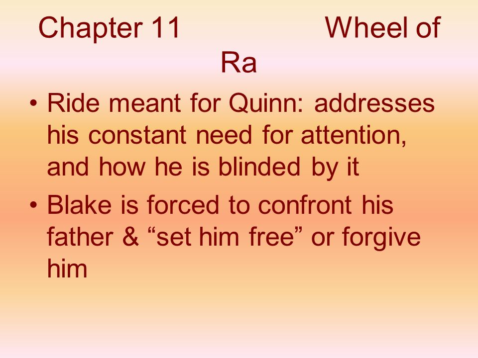 Chapter 11 Wheel of Ra Ride meant for Quinn: addresses his constant need for attention, and how he is blinded by it.