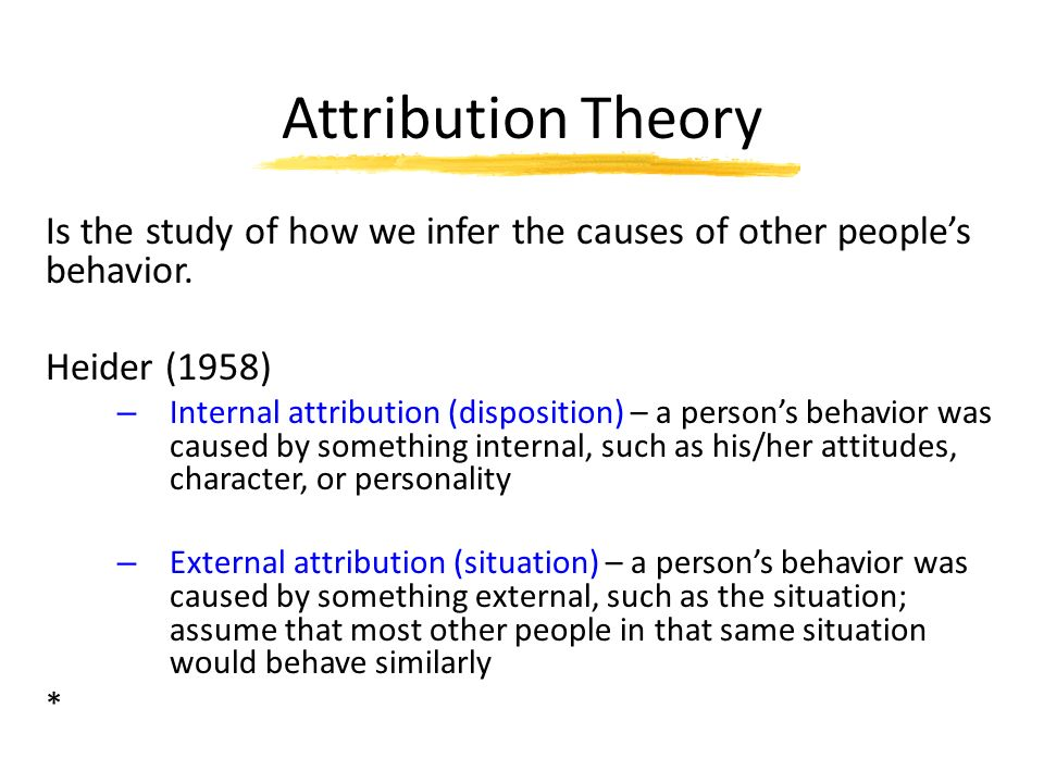 the effects of the process of attribution on peoples behavior and actions Attribution theory attribution - to explain by indicating a cause attribution theory - motivational theory looking at how the average person constructs the meaning of an event based on his /her motives to find a cause and his/her knowledge of the environment att theory basically looks at how people make sense of their world what cause and effect inferences they make about the behaviors of.