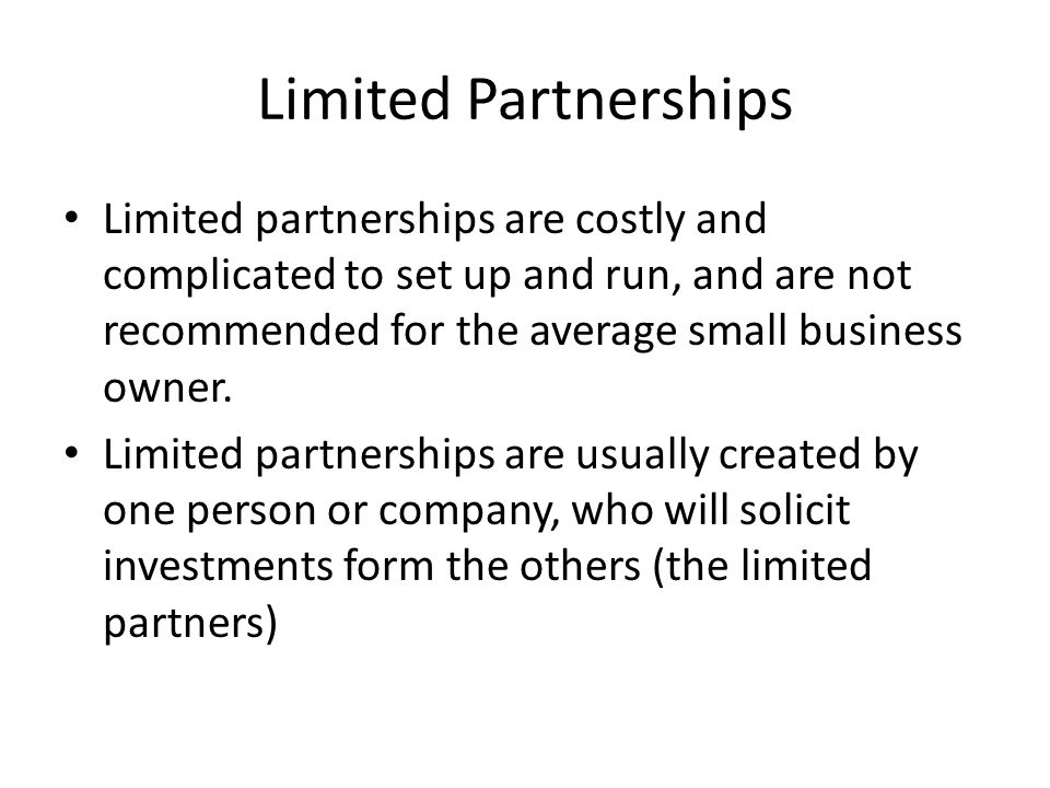 how to run a limited partnership in canada