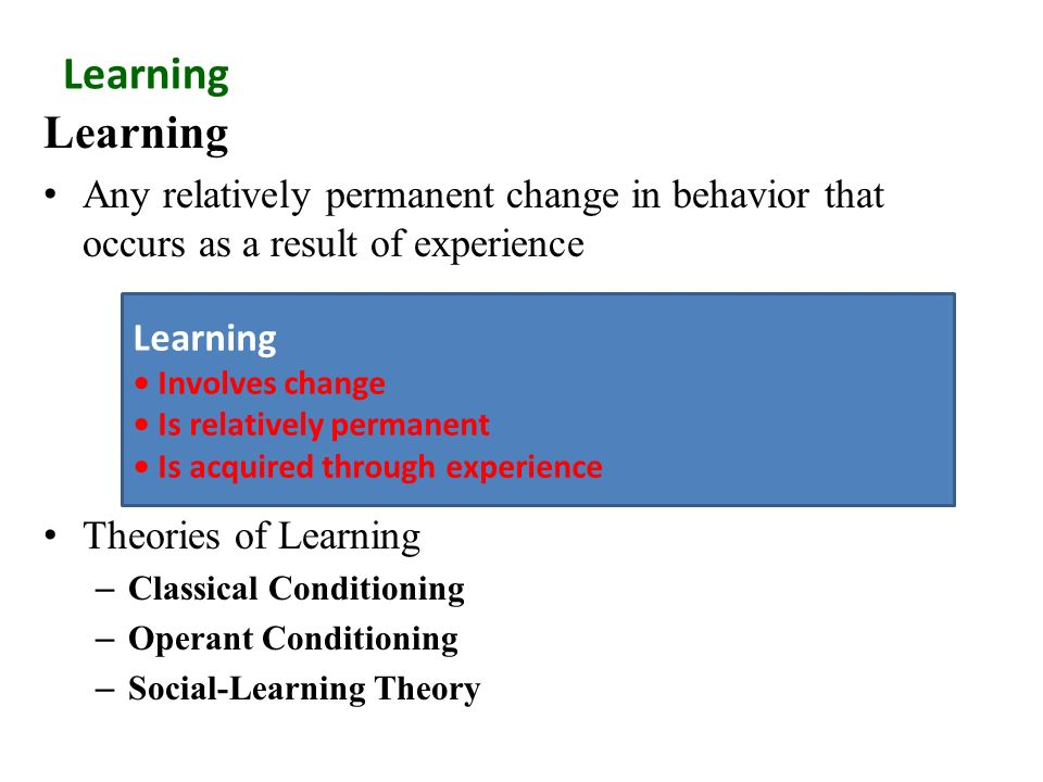 personality in operant conditioning and social cognitive learning Dysfunctional behaviours from the social the most elaborated theory of the third type of learning, social traditional operant conditioning model for cognitive.