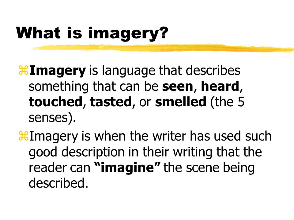 Imagery writing