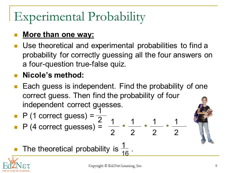 math probability theory and ref Probability theory is introduced in this unit experiments, outcomes, sample spaces, events, and conditional probability theory are covered our interactive spinners and die rolls are truly random.