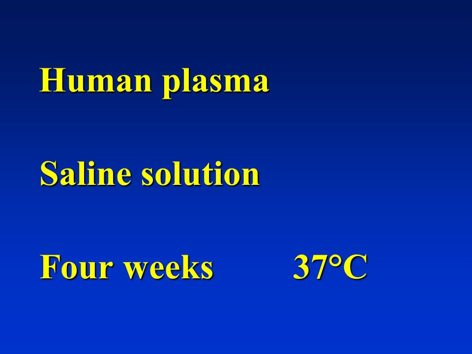 Human plasma Saline solution Four weeks 37°C