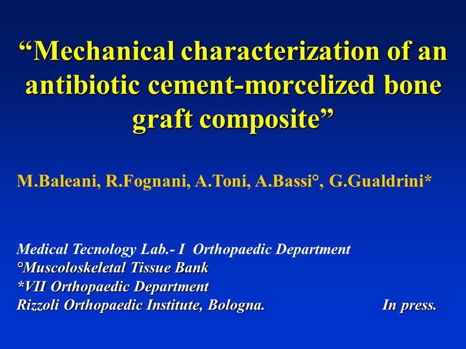 Mechanical characterization of an antibiotic cement-morcelized bone graft composite