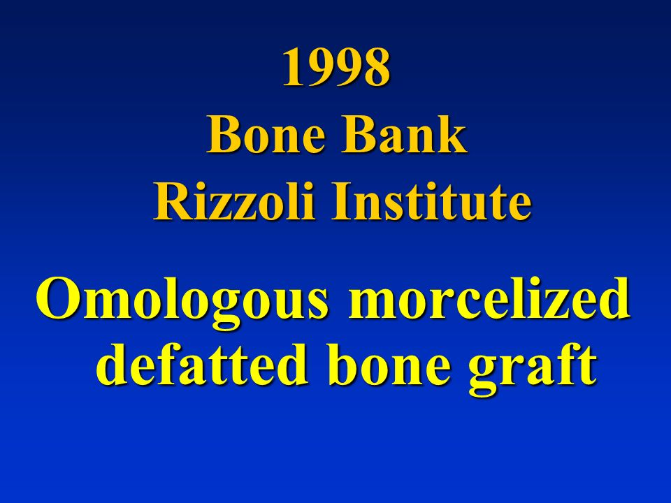 1998 Bone Bank Rizzoli Institute