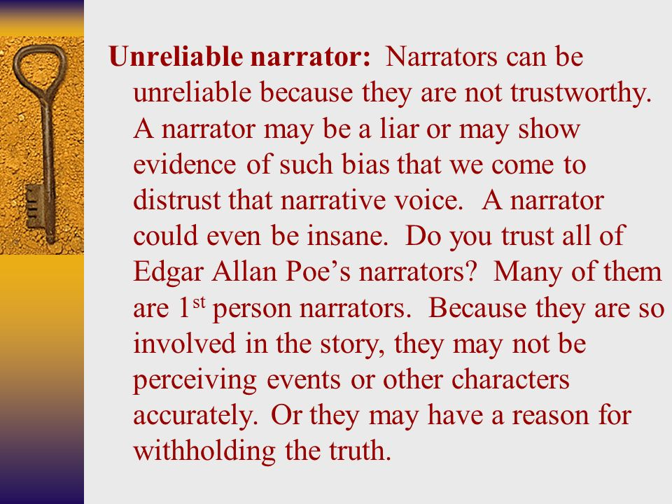 do we trust nick as narrator In order for this to be convincing, we trust the narrator we take on his perspective, if not totally, then substantially nick, the flawed narrator.