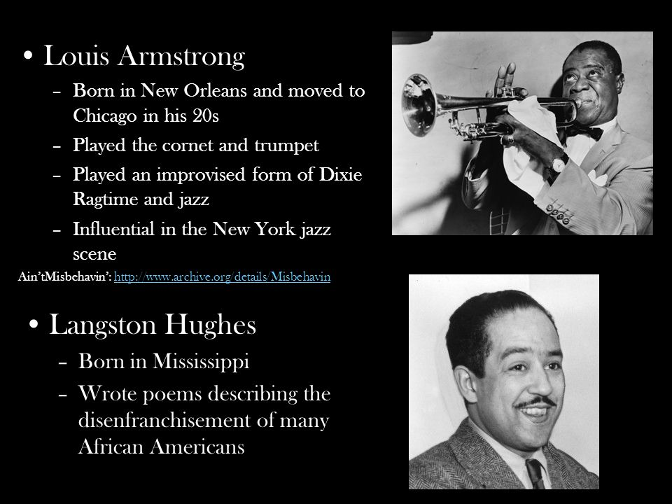 langston hughes trumpet player During the early 20th century, african-american poets, musicians, actors, artists and intellectuals such as billie holiday, langston hughes and duke ellington moved.