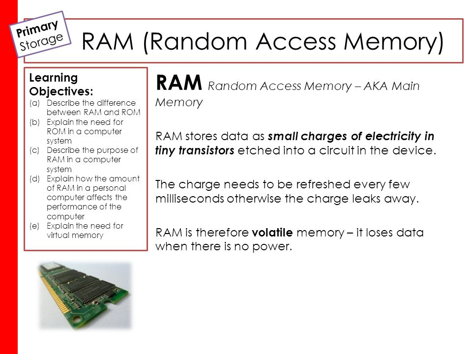 understanding random access memory ram in a computer View test prep - computer_ram from compuer sc 496 at banaras hindu university computer - random access memory http:/wwwtutorialspointcom/computer_fundamentals/computer_ramhtm copyright.