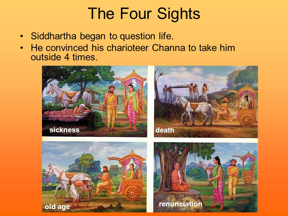 The Four Sights Siddhartha began to question life.