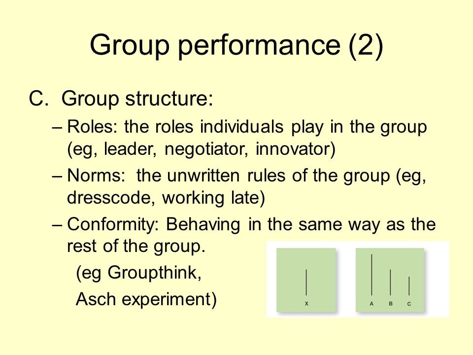 Group performance (2) C. Group structure: