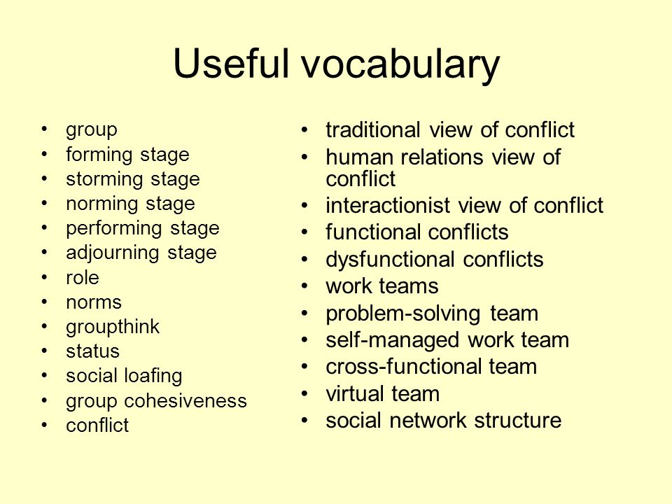 Useful vocabulary traditional view of conflict