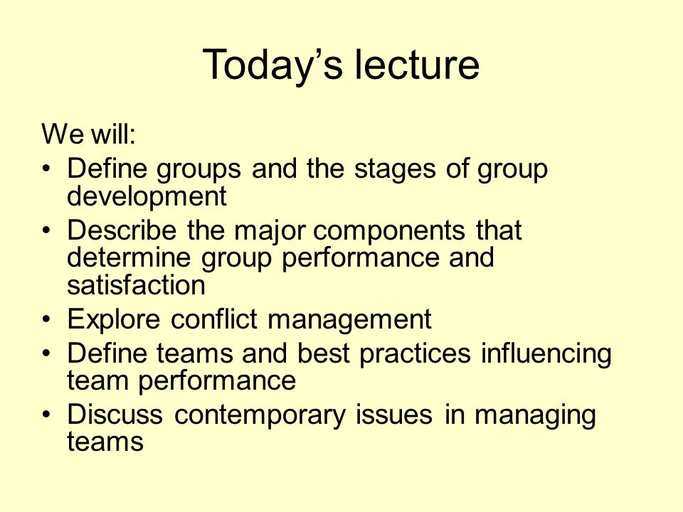 Today's lecture We will: