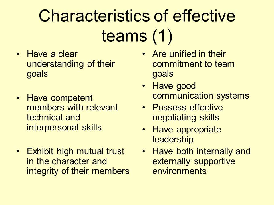 Characteristics of effective teams (1)