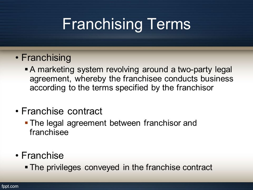 Franchising And Leasing  Ppt Download