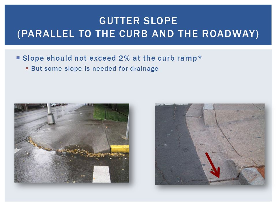 Cross Slope Ada Ramp Gutter Ada Compliant Curb Ramp Pcm