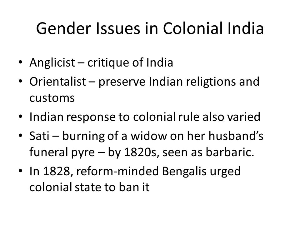 Gender Issues in Colonial India