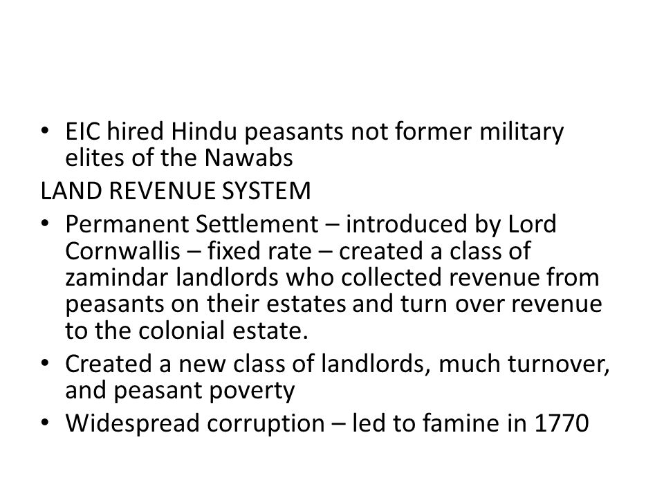 EIC hired Hindu peasants not former military elites of the Nawabs