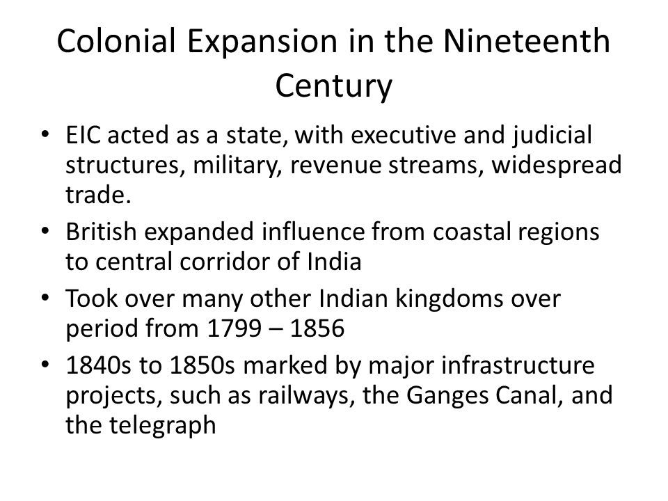 Colonial Expansion in the Nineteenth Century