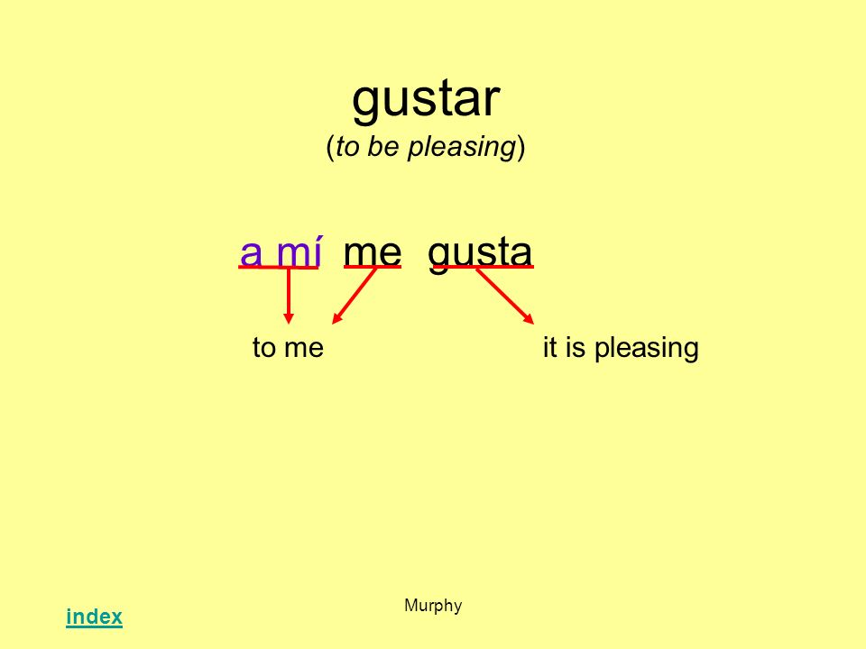 gustar (to be pleasing)