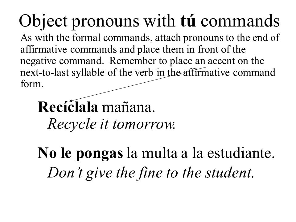 Object pronouns with tú commands
