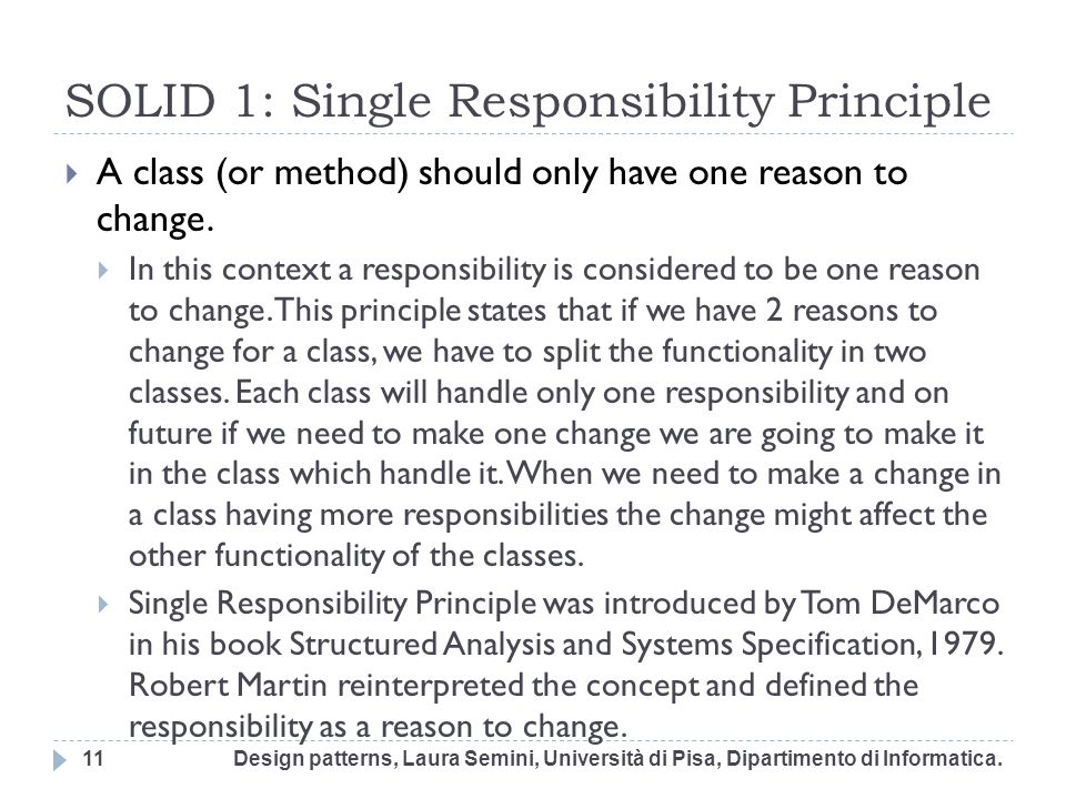SOLID 1: Single Responsibility Principle