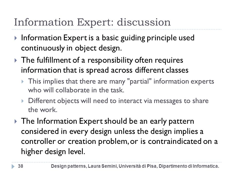 Information Expert: discussion