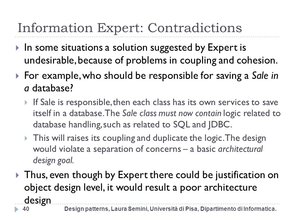 Information Expert: Contradictions