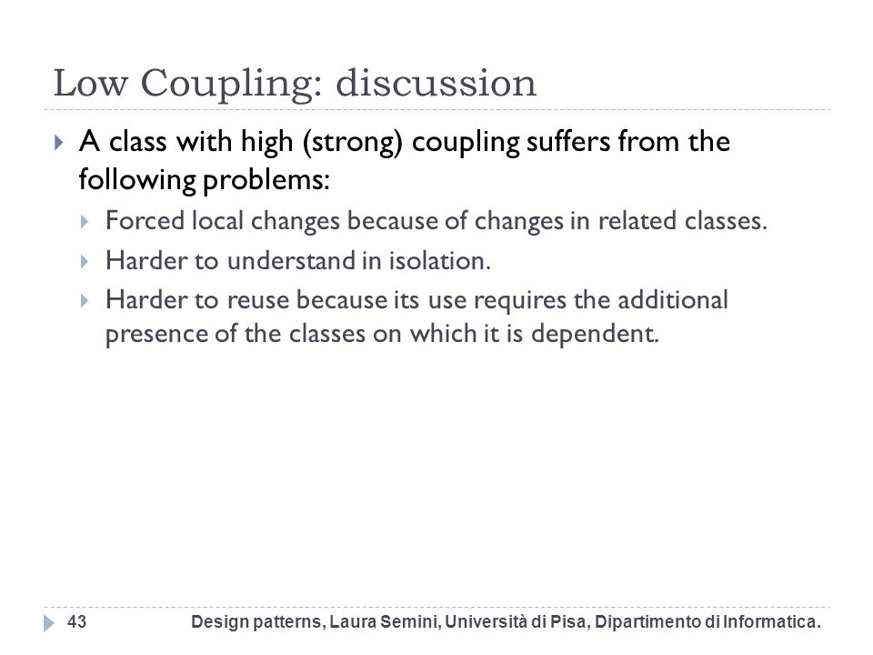 Low Coupling: discussion